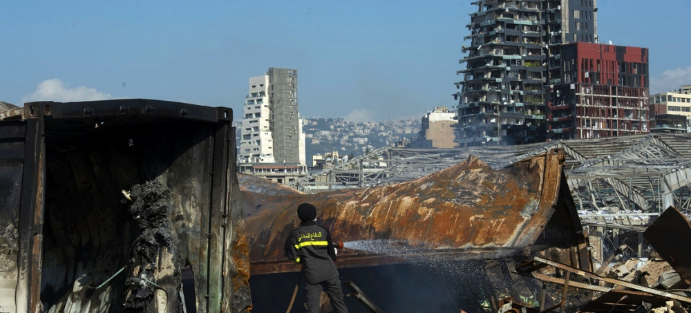 fotka po výbuchu v Libanone